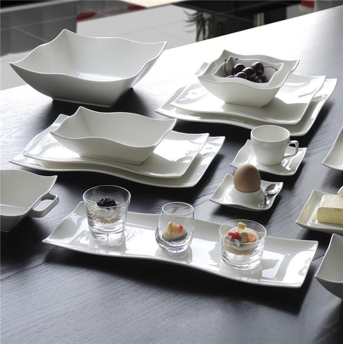 service vaisselle blanc carr design en image. Black Bedroom Furniture Sets. Home Design Ideas
