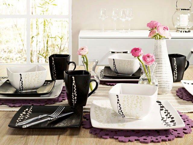 attractive service de table noir et blanc #7: service de table