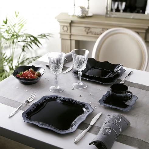service de table noir et blanc design en image. Black Bedroom Furniture Sets. Home Design Ideas