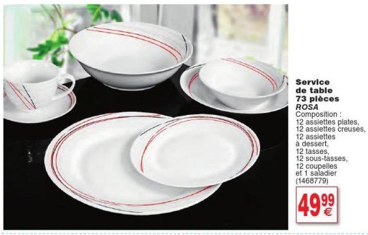 Service vaisselle cora design en image - Carrefour vaisselle de table ...
