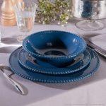 Service assiette bleu