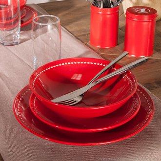 Service de table rouge et blanc design en image - Service de table noir ...