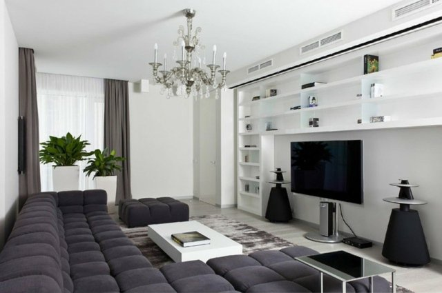 Id e d co moderne salon design en image - Deco salon design gris ...