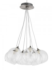 Lustre boule de verre design en image for Luminaire suspension boule