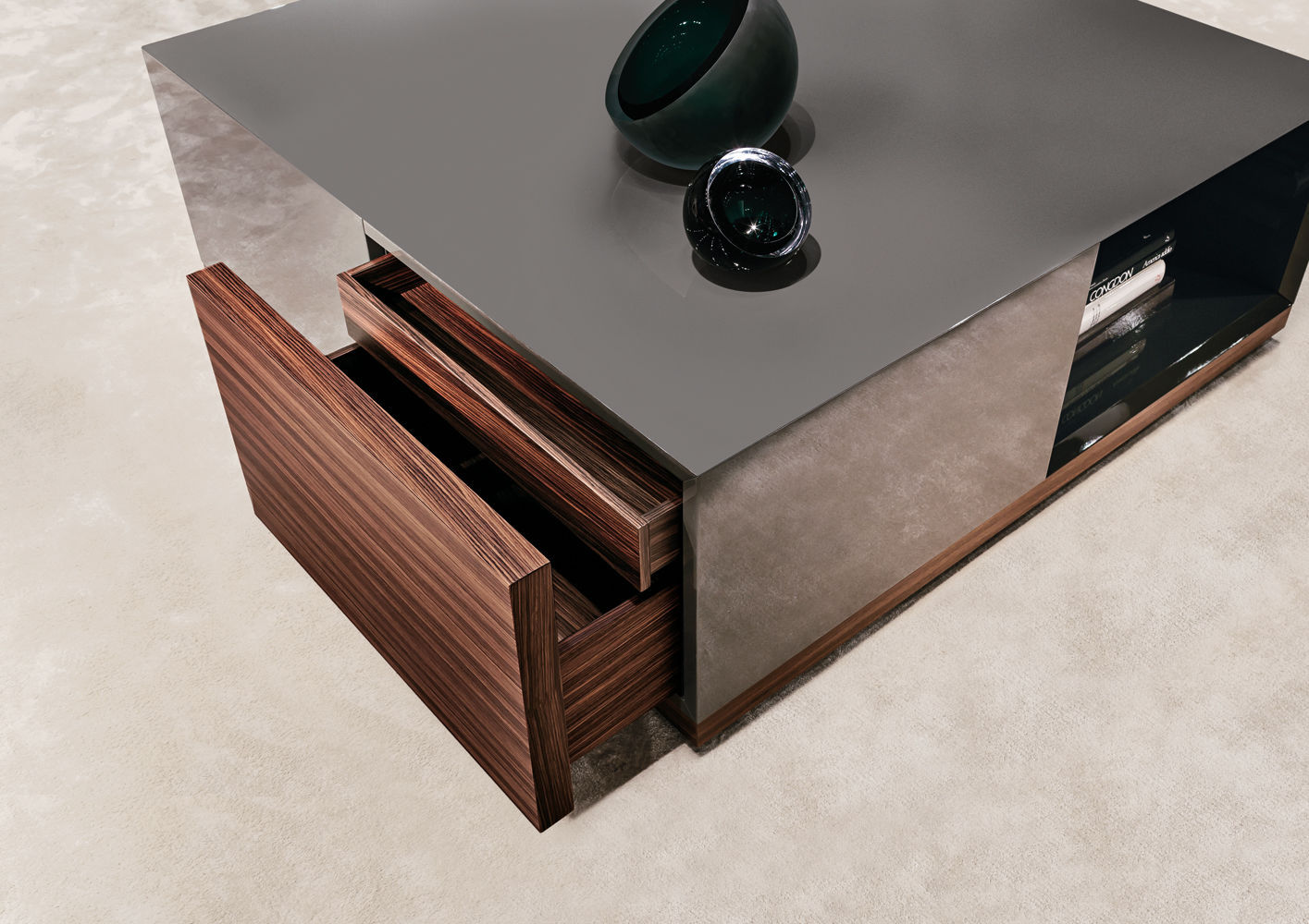 Table basse carr e avec rangement design en image for Table basse carree avec rangement