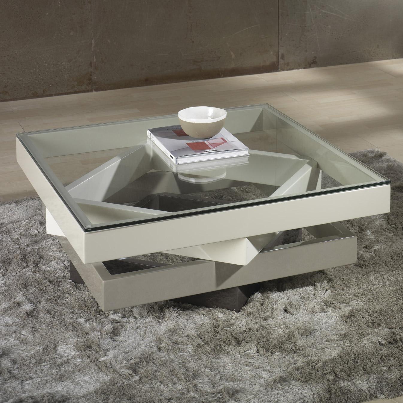 Table basse carr e bois et verre design en image for Table basse en verre et bois