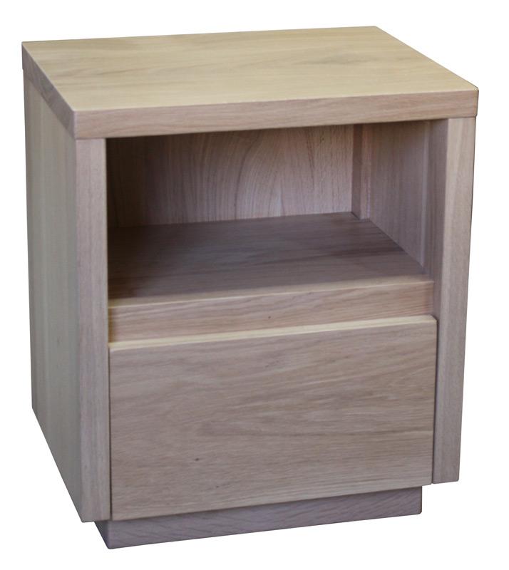Table de chevet chene gris design en image - Table de chevet en chene ...
