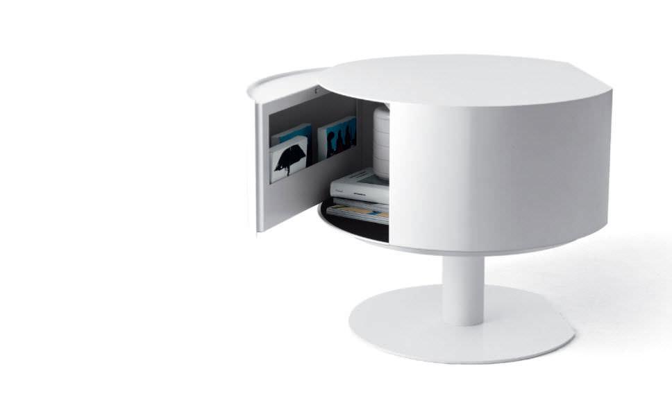 Table de nuit ronde blanche design en image - Table de chevet blanche pas cher ...