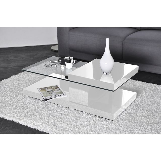 table basse blanc laqu et verre design en image. Black Bedroom Furniture Sets. Home Design Ideas