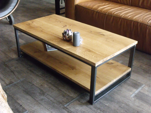 Table basse bois fer design en image for Assemblage bois meuble