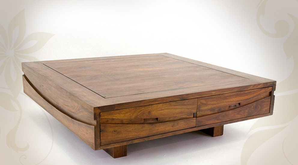 Table basse de salon en bois design en image - Table basse carre bois ...