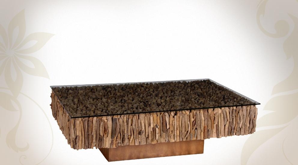 Table Basse Teck Et Verre Design En Image