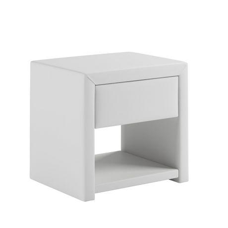 table de chevet simili cuir blanc design en image. Black Bedroom Furniture Sets. Home Design Ideas