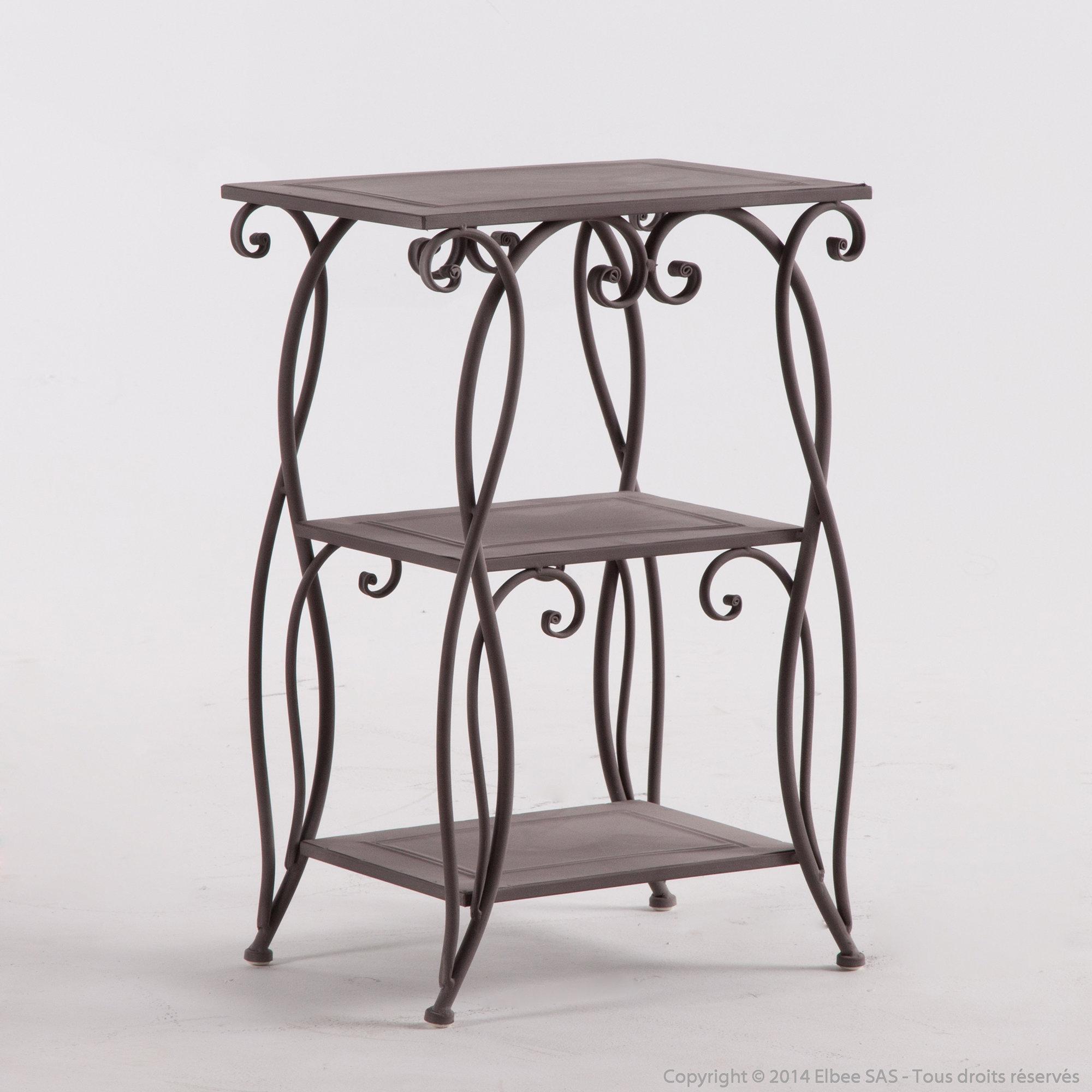table chevet fer forg design en image. Black Bedroom Furniture Sets. Home Design Ideas