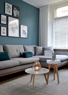 Décoration salon bleu et beige - Design en image