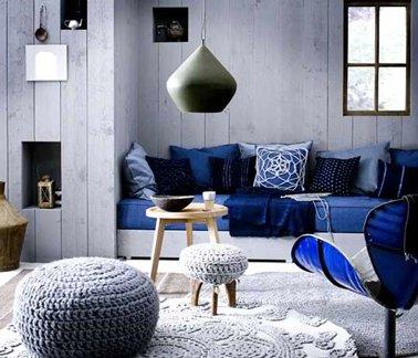 Decoration salon bleu gris - Design en image