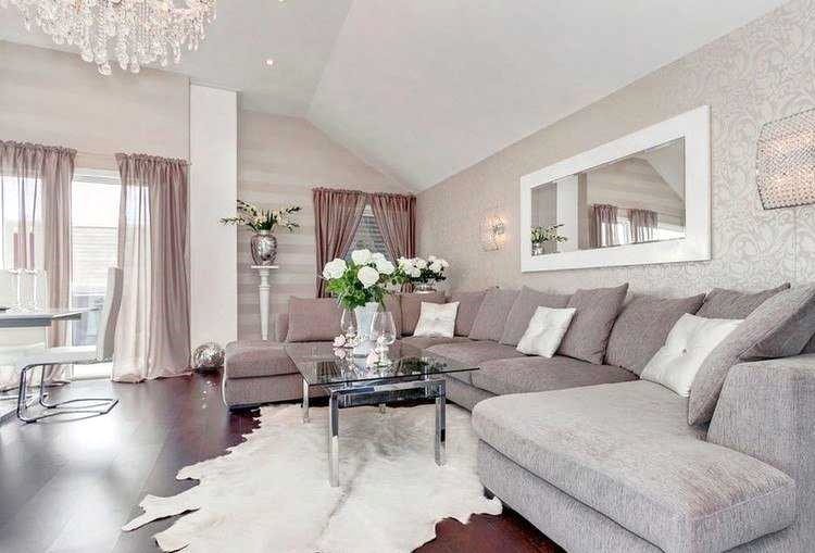 Decoration salon blanc gris beige - Design en image