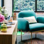 Decoration salon bleu turquoise