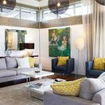 Decoration salon moderne gris et jaune