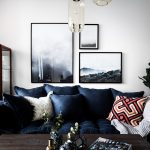 Decoration salon divan bleu