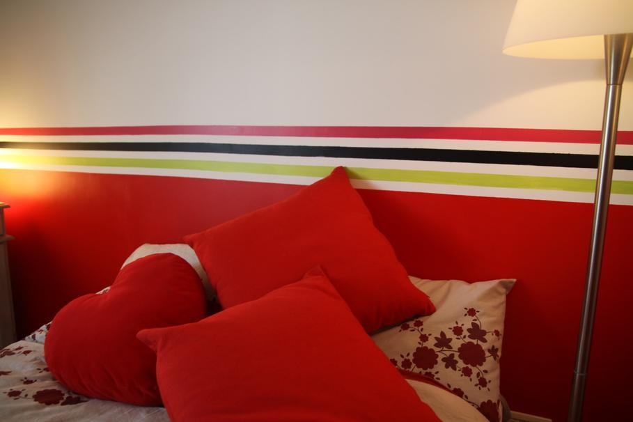 Decoration interieur chambre adulte rouge