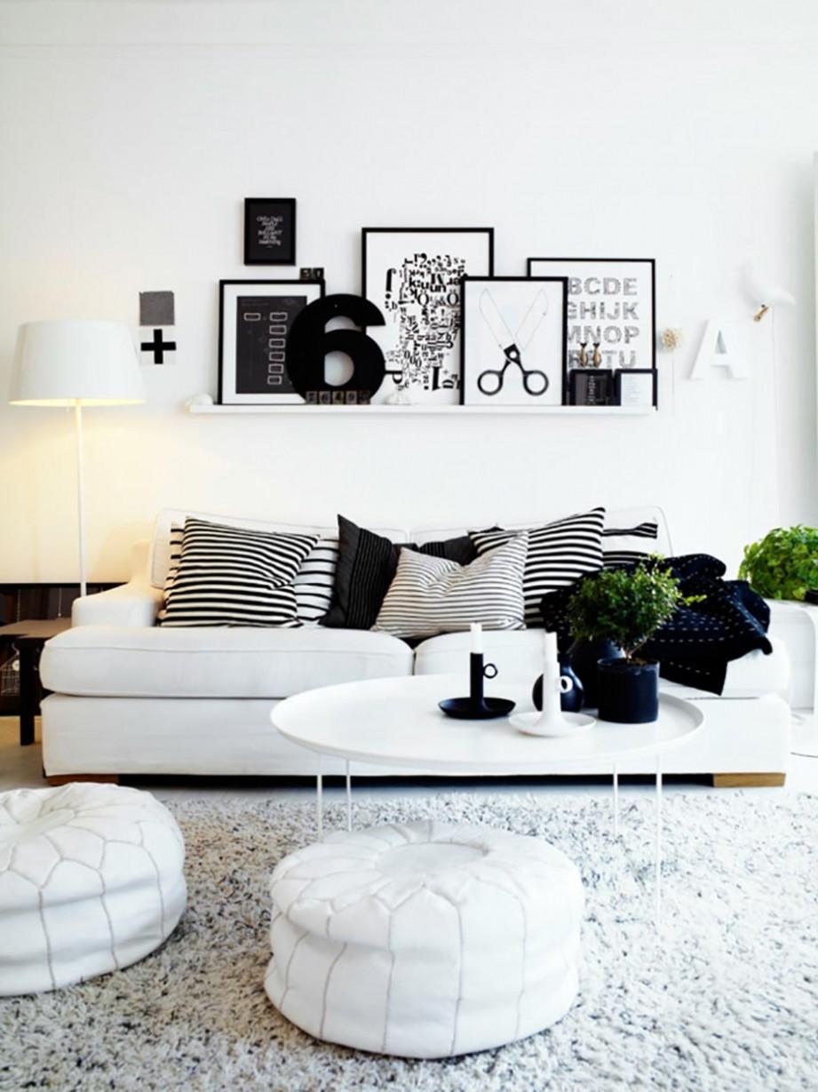 Decoration salon moderne noir et blanc - Design en image