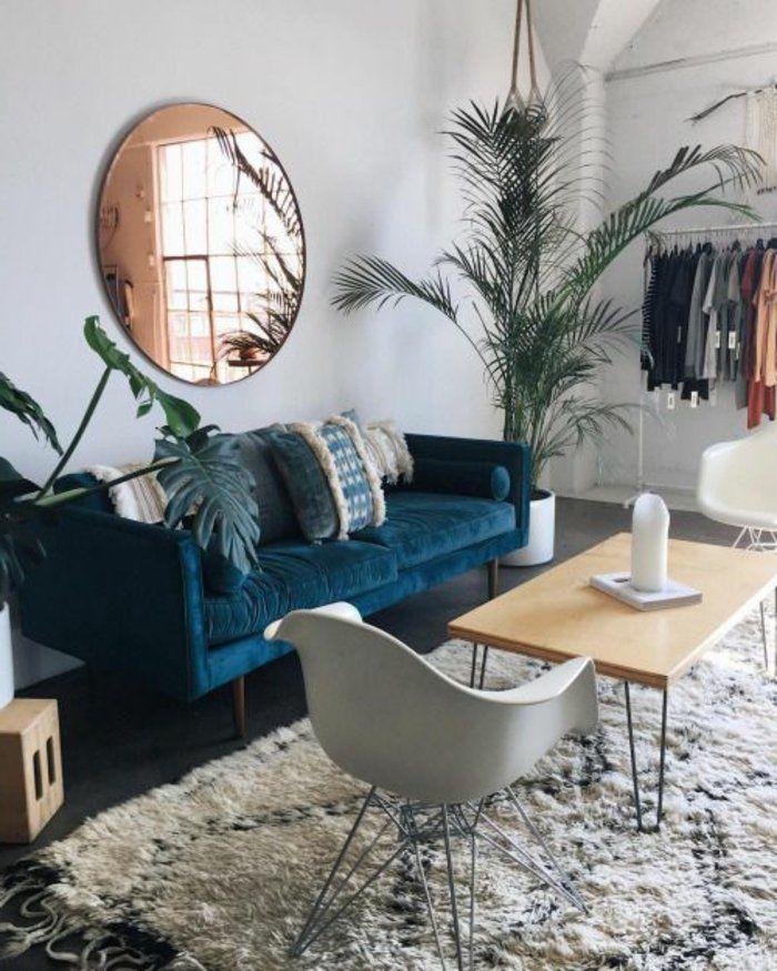 Décoration salon divan bleu