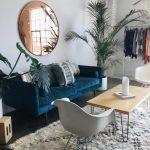 Decoration salon gris et bleu canard