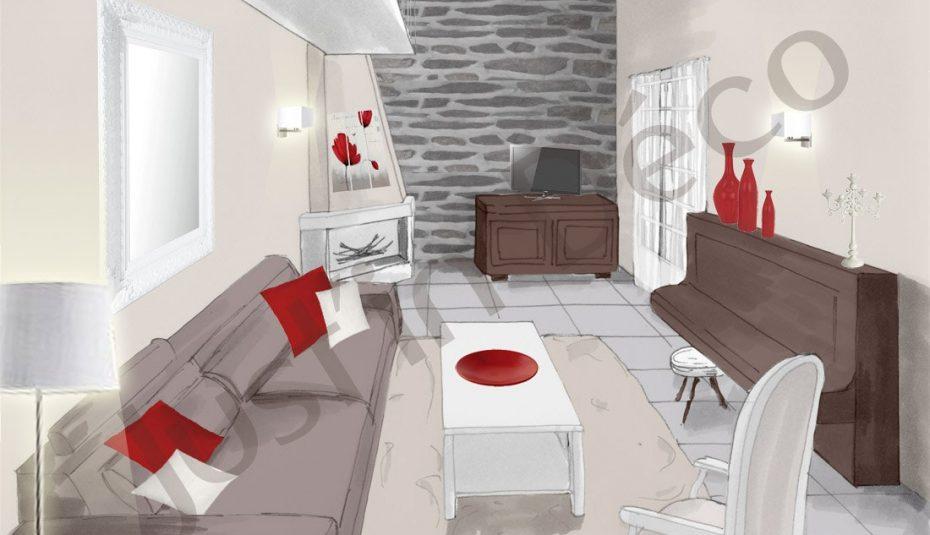 Decoration Interieure Salon Gris Rouge Design En Image