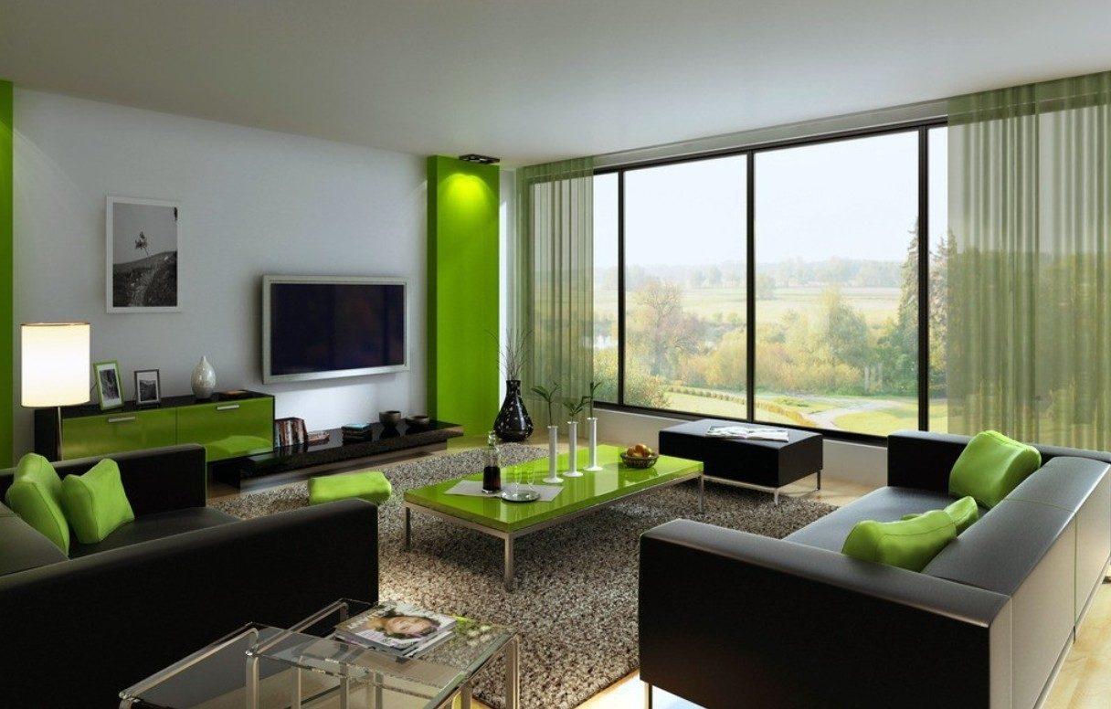 Decoration salon vert et marron - Design en image