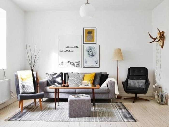 Decoration salon gris jaune