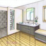 Dessin de decoration d interieur salle de bain