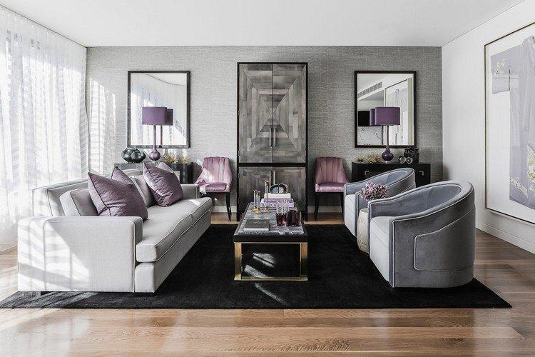 Decoration interieur gris et violet