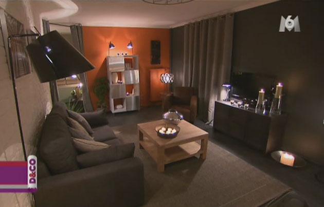 Decoration salon gris orange - Design en image