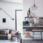Decoration salon rose et gris