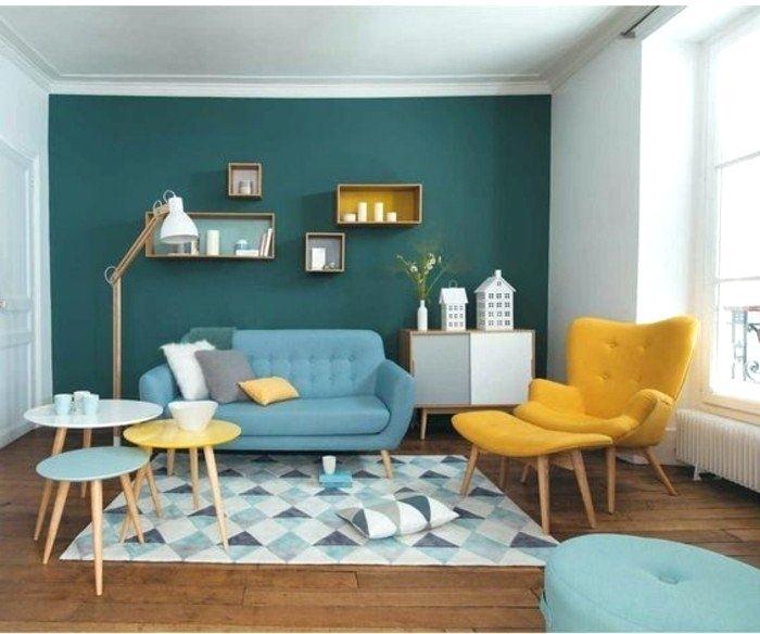 Decoration Salon Gris Jaune Et Bleu Design En Image