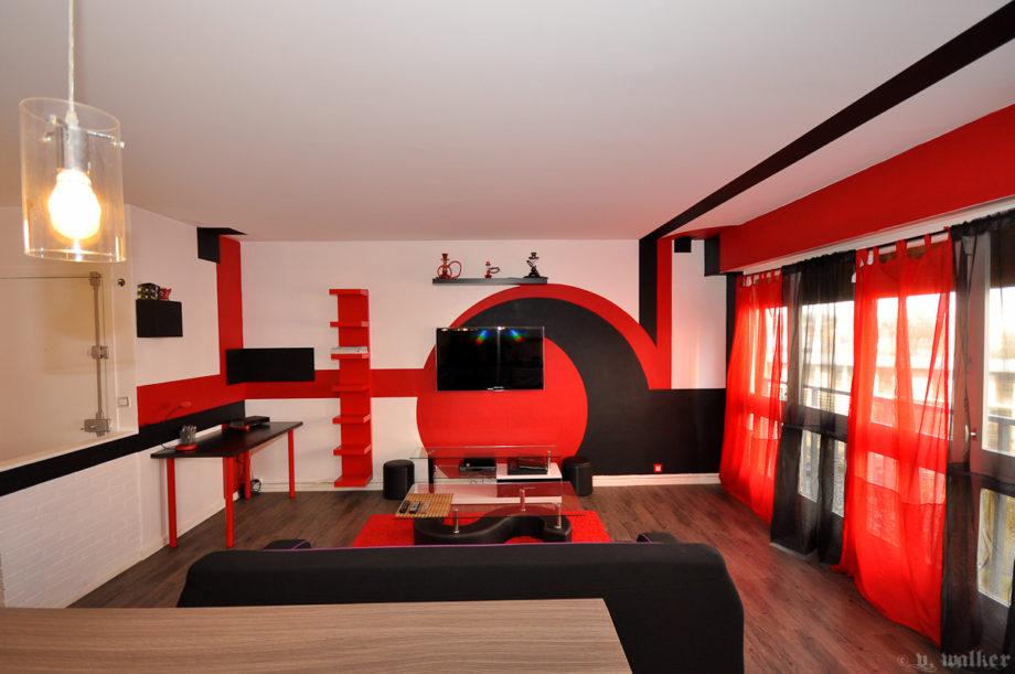 Salon Rouge Et Noir Decoration Design En Image