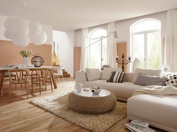Decoration salon taupe et blanc