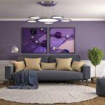 Decoration salon violet et gris