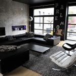 Decoration salon avec canape noir - Design en image