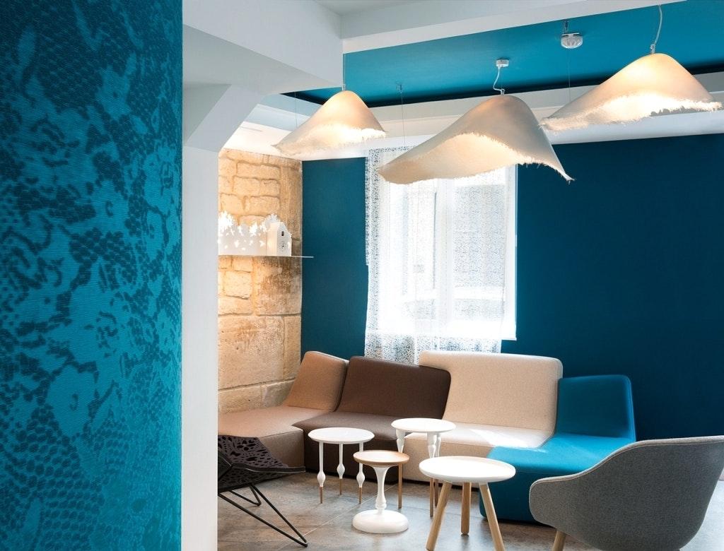 Décoration salon bleu turquoise - Design en image