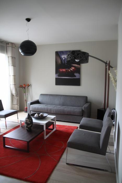 Décoration salon noir et rouge - Design en image