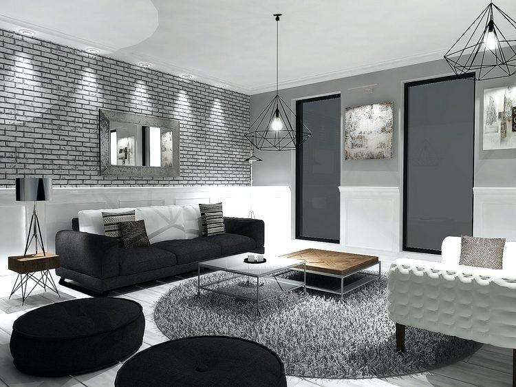Décoration salon en gris et blanc - Design en image