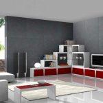 Decoration salon gris et rouge