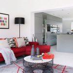Décoration salon blanc et rouge