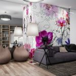 Decoration salon gris et fuchsia