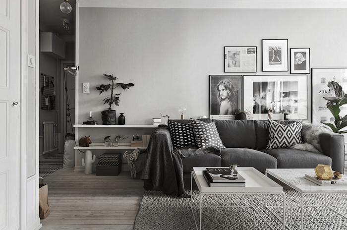 Decoration salon gris blanc taupe
