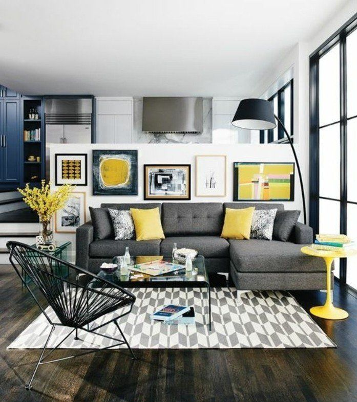 Décoration salon jaune et gris - Design en image