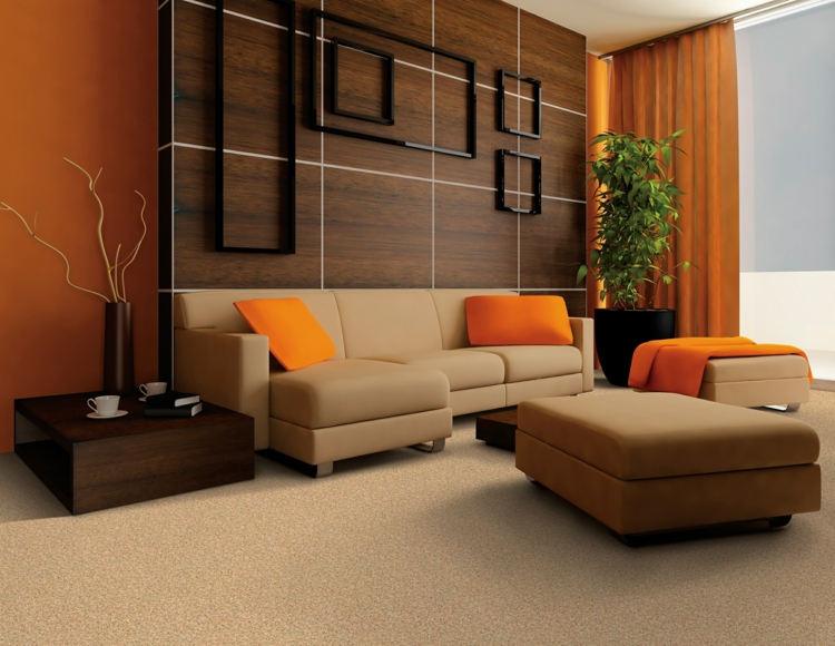 Decoration salon orange beige - Design en image