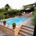 Décoration jardin piscine en bois